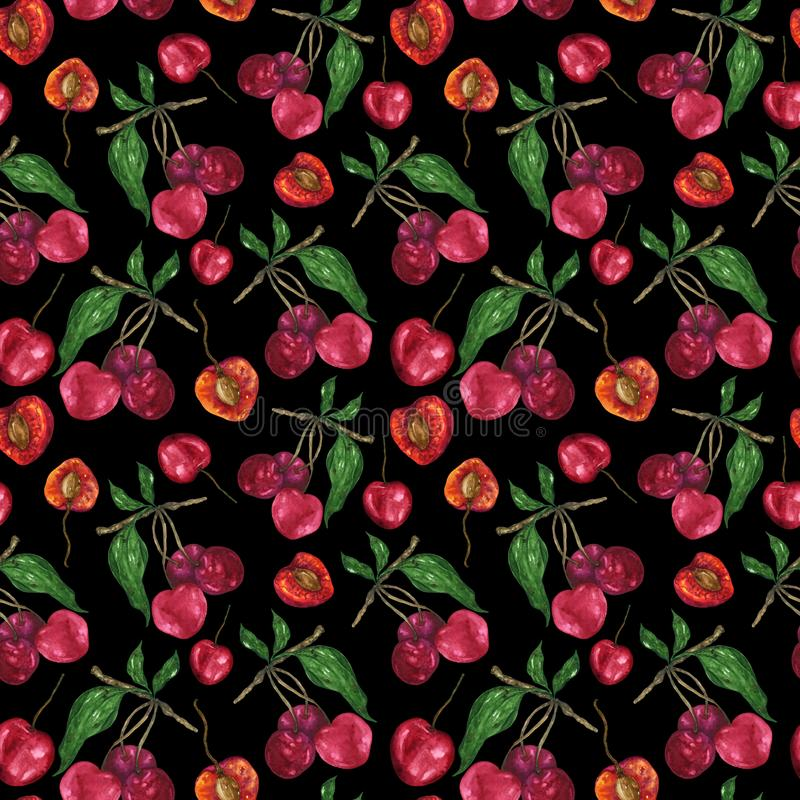 Watercolor cherry in a pattern on a black background vector illustration