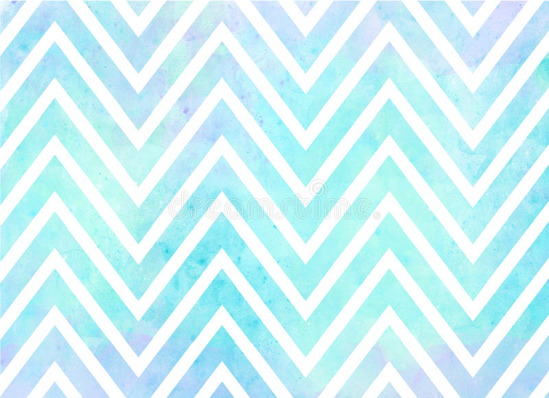 Watercolor Chevron Stripes Background Pattern. In blue and purple royalty free illustration