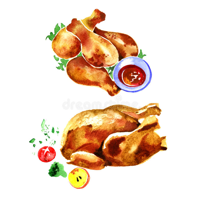 Watercolor chicken fried set on a white background. Watercolor tasty chicken fried on a white background stock illustration