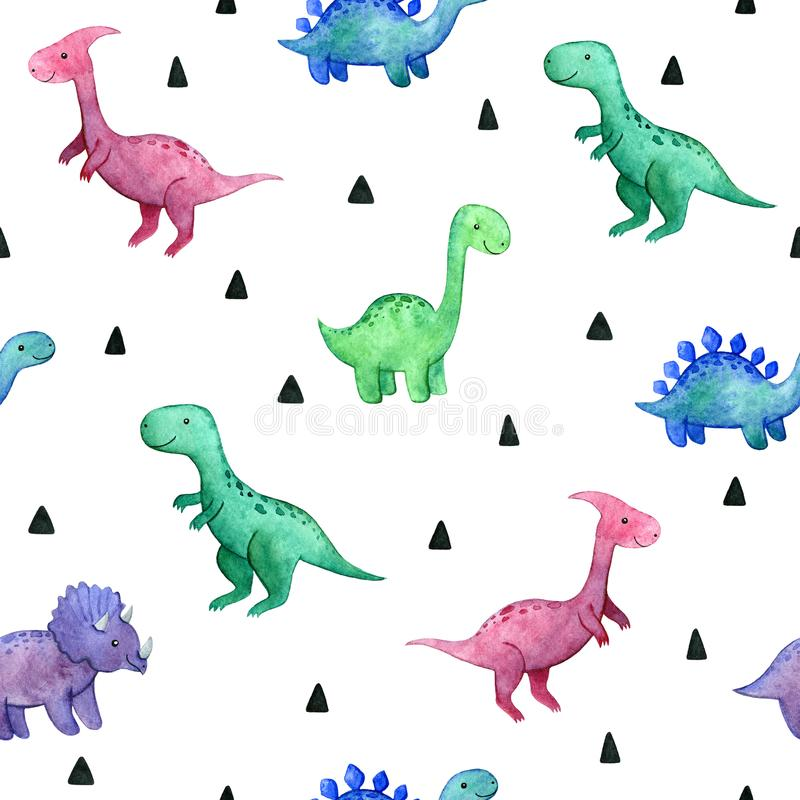Watercolor childish seamless pattern with dinosaurs stock photo