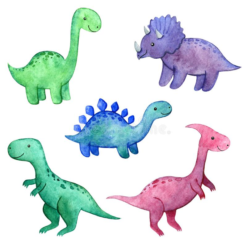 Watercolor childish set with dinosaurs royalty free stock photo