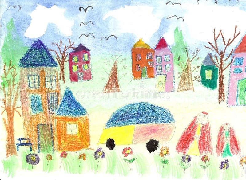 Watercolor children drawing kids Walking stock illustration