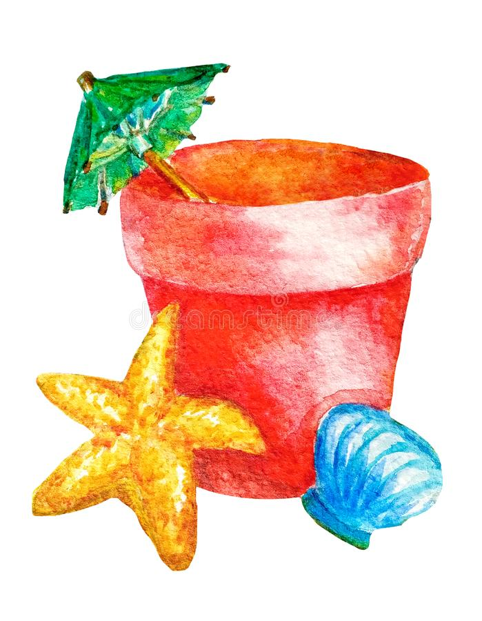 Free Watercolor Children`s Toy Red Bucket With A Cocktail Umbrella And A Seashell, Starfish On A White Background Isolated. Summer Stock Image - 148227511