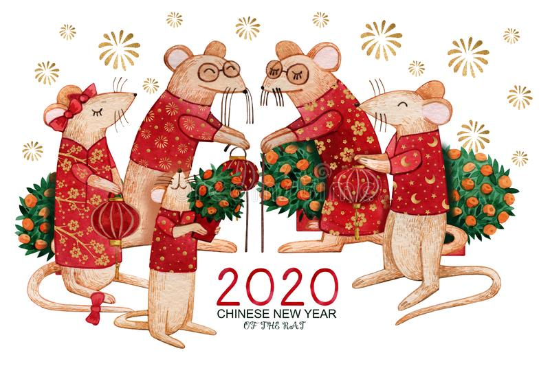 Watercolor Chinese New Year 2020 greeting card with rat family. Hand-drawn rats in red suits and with lanterns in their hands vector illustration