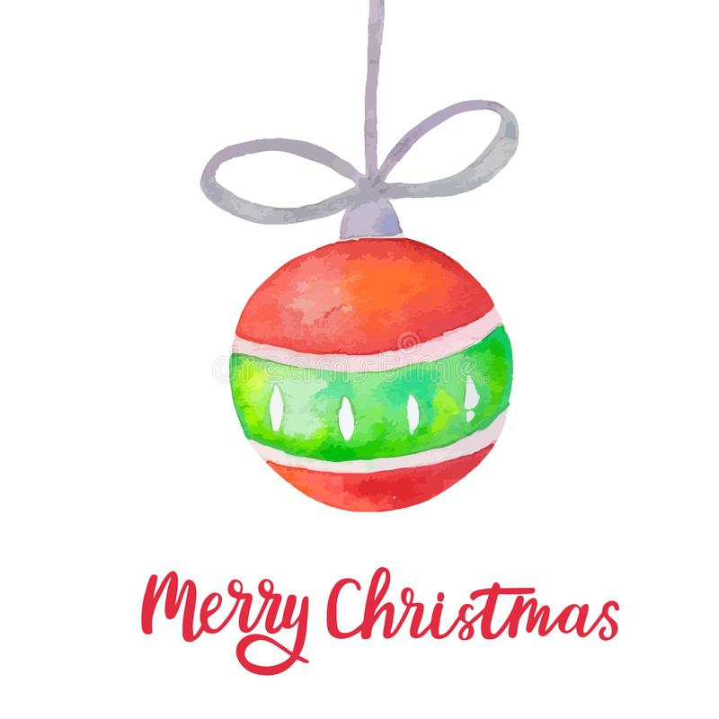 Watercolor Christmas ball on white background. Merry Christmas greeting card with xmas ball and hand lettering. Holiday vector illustration