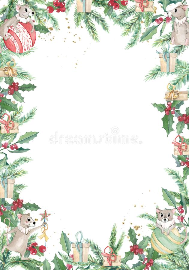 Free Watercolor Christmas Banner With Winter Branches And Cute Mouse. Design New Year Illustration For Greeting Cards, Frames Stock Photography - 165610252
