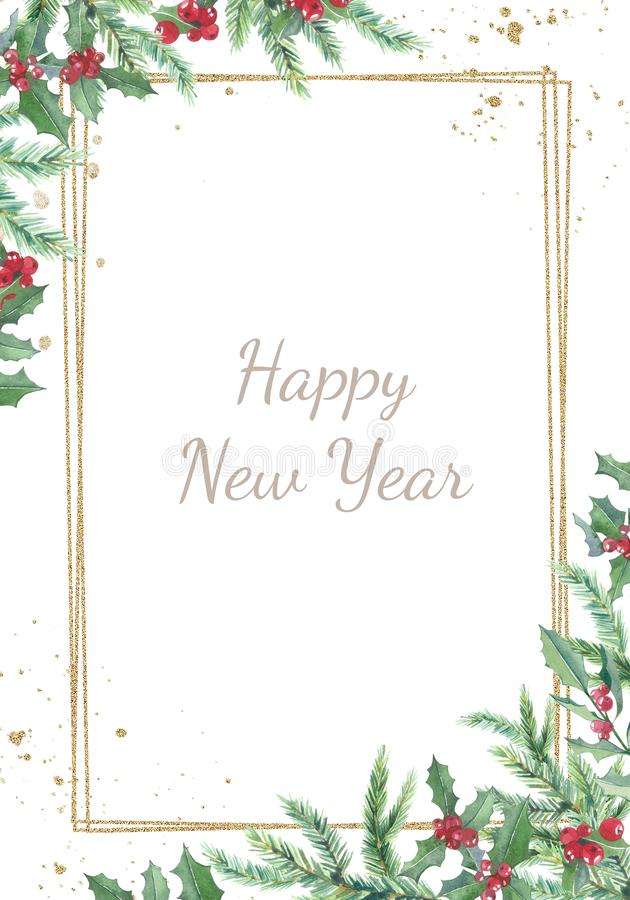 Free Watercolor Christmas Banner With Winter Branches And Red Berries.  Design Happy New Year Illustration For Greeting Cards, Frames Stock Photos - 165610273