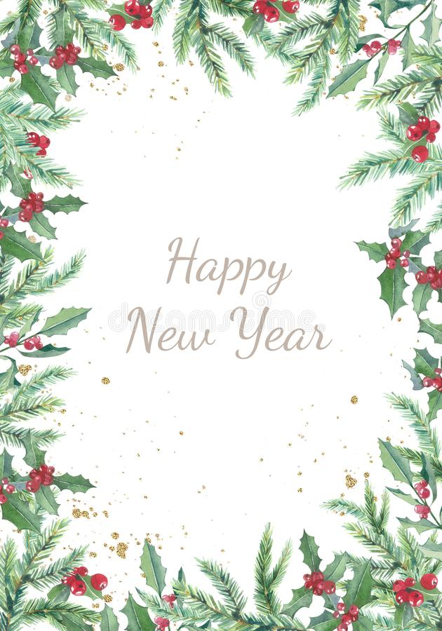 Free Watercolor Christmas Banner With Winter Branches And Red Berries. Design New Year Illustration For Greeting Cards, Frames Royalty Free Stock Images - 165610249