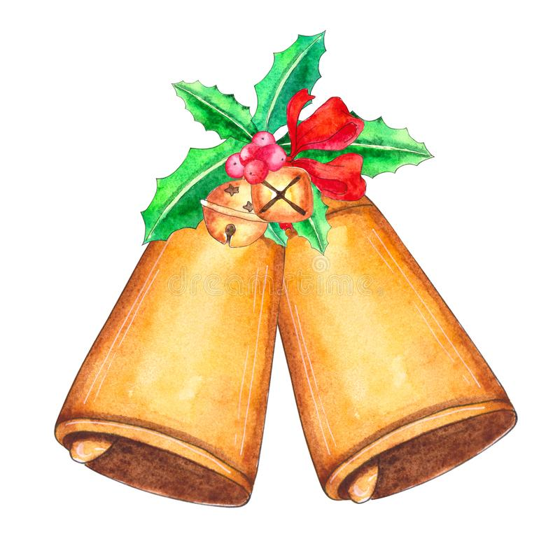 Watercolor Christmas bells with holiday decor stock illustration