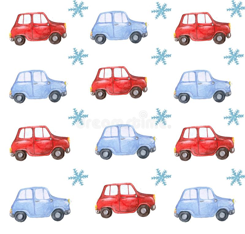 Watercolor christmas blue red car pattern background with snowflakes. Watercolor christmas blue red car background with snowflakes, christmas decoration vector illustration