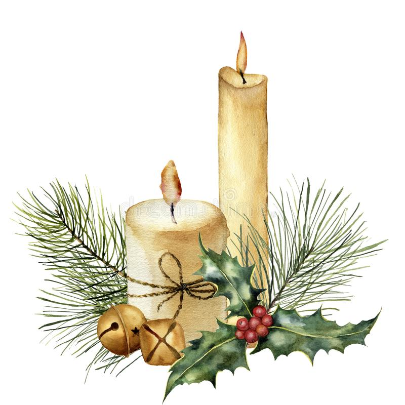 Watercolor Christmas candle with holiday decor. Hand painted candle, holly, christmas tree branch and bell isolated on stock illustration