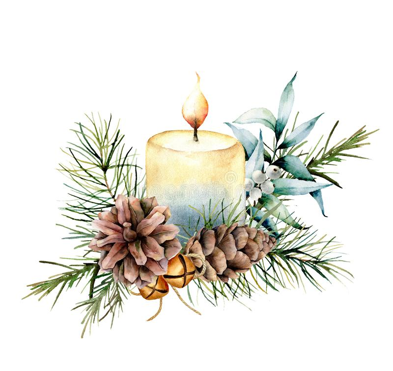 Free Watercolor Christmas Candle With Holiday Decor. Hand Painted Floral Composition With Eucalyptus Leaves, Bells, Pine Royalty Free Stock Images - 130993579