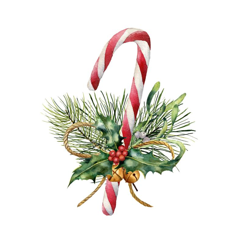 Watercolor Christmas Cane with decor. Hand painted traditional candy with christmas plant: holly, mistletoe, bells. Ribbon and fir branch isolated on white royalty free illustration