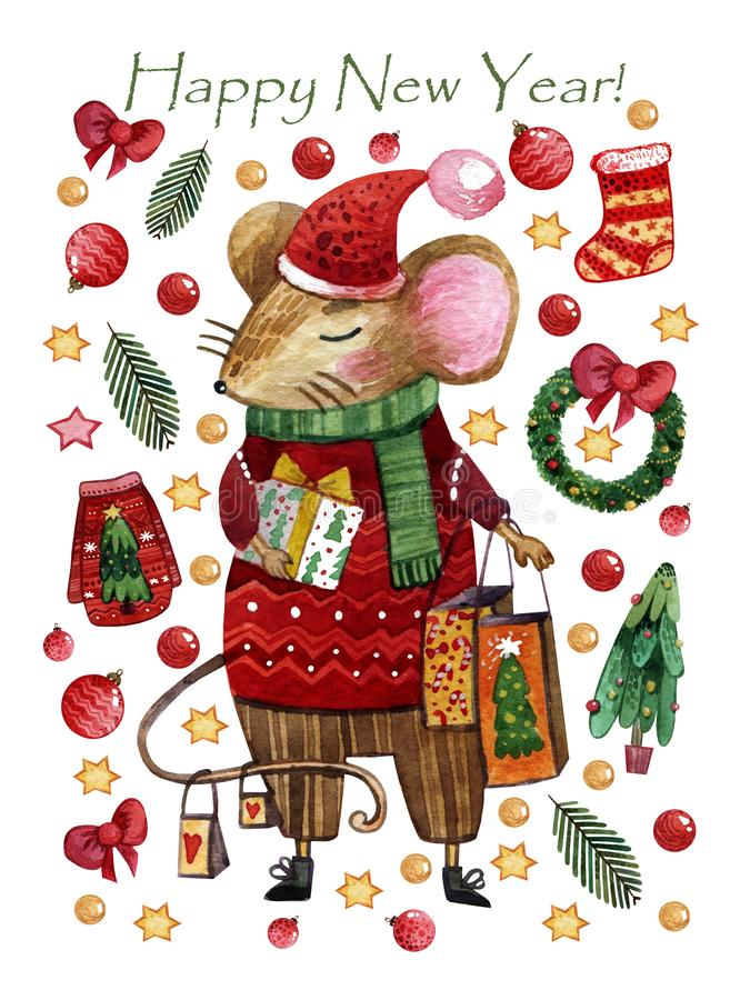 Watercolor Christmas card with a boy mouse in a red sweater and pants. Hand-drawn mouse. With a gift in hands is on the background of Christmas toys, Christmas stock illustration