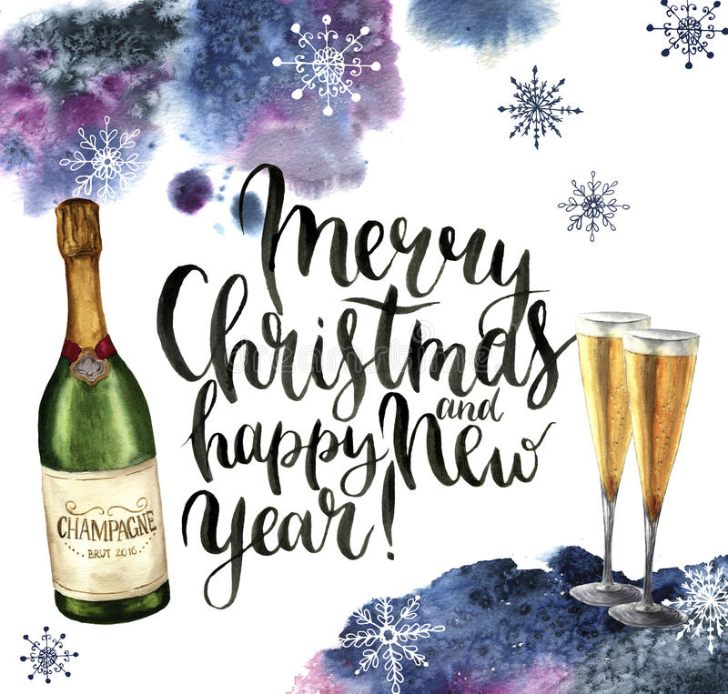 Watercolor christmas card with champagne and snowflakes. Season illustration with Merry Christmas and happy New Year vector illustration