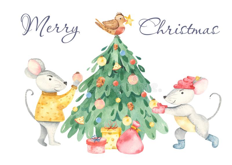Watercolor christmas card with cute rats, christmas tree, gifts. vector illustration