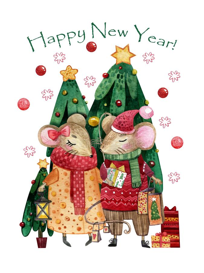 Watercolor Christmas card with a pair of mice in love. Hand-drawn mice with gifts in hands royalty free illustration