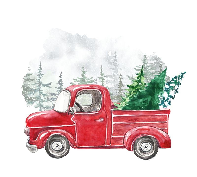 Watercolor Christmas card template with hand painted abstract retro truck and fir pine trees. Winter snowy forest illustration royalty free stock photo