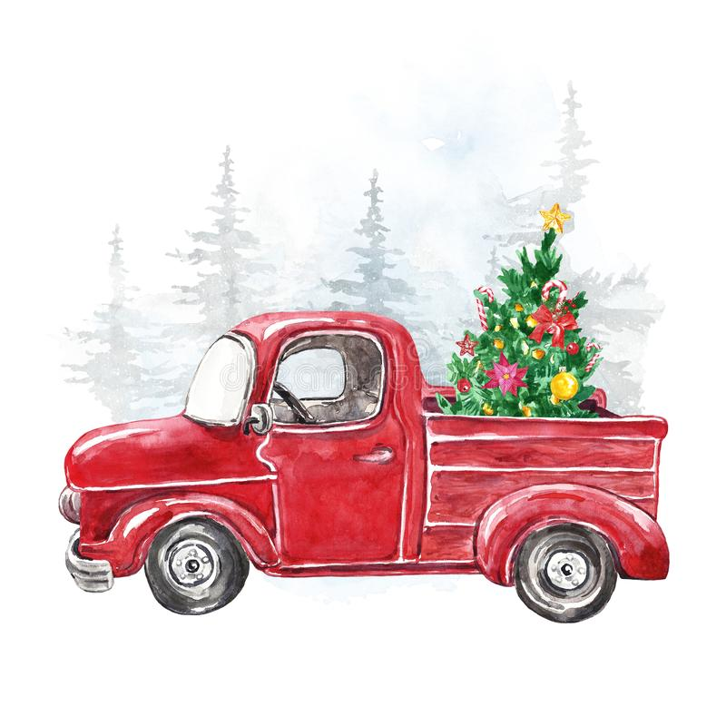 Watercolor Christmas card template with hand painted abstract retro truck and fir tree. Winter snowy forest illustration. Watercolor winter illustration with royalty free stock image