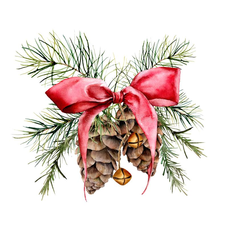 Watercolor Christmas composition with cones and red ribbon. Hand painted traditional gold bells with christmas tree. Branches isolated on white background stock illustration