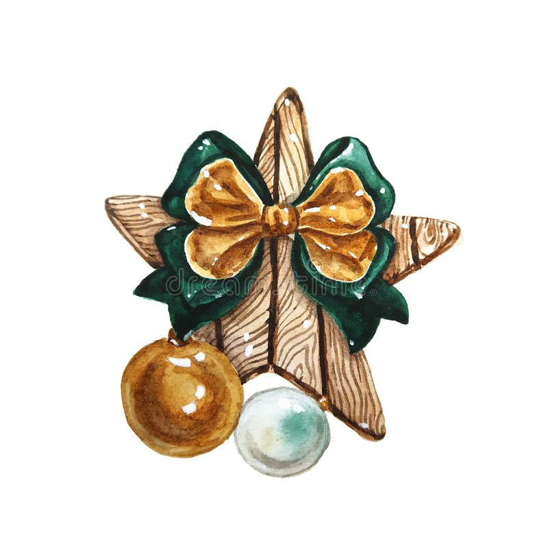 Watercolor Christmas composition. Christmas decorations of wood star with big bow and glass balls, elements of the new. Year and Christmas stock illustration