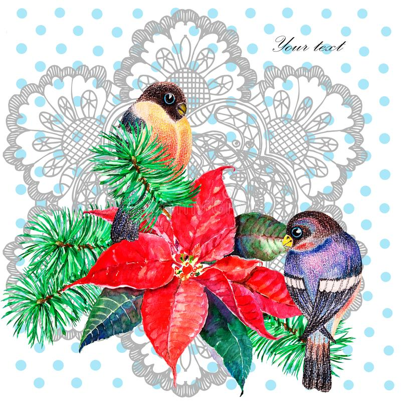 Watercolor Christmas composition. Illustration for design. vector illustration