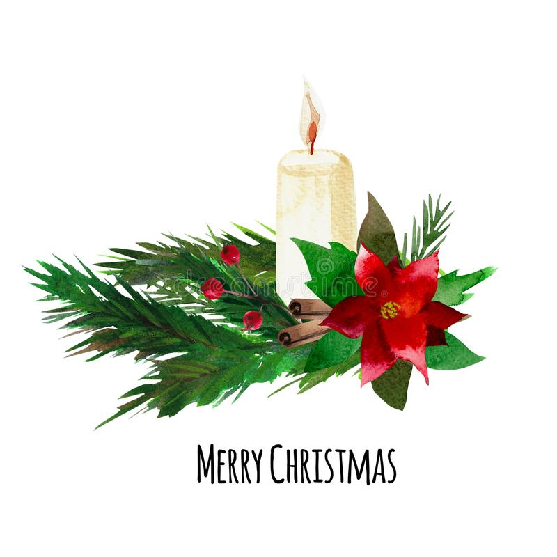 Watercolor Christmas composition on a pine branch royalty free stock image