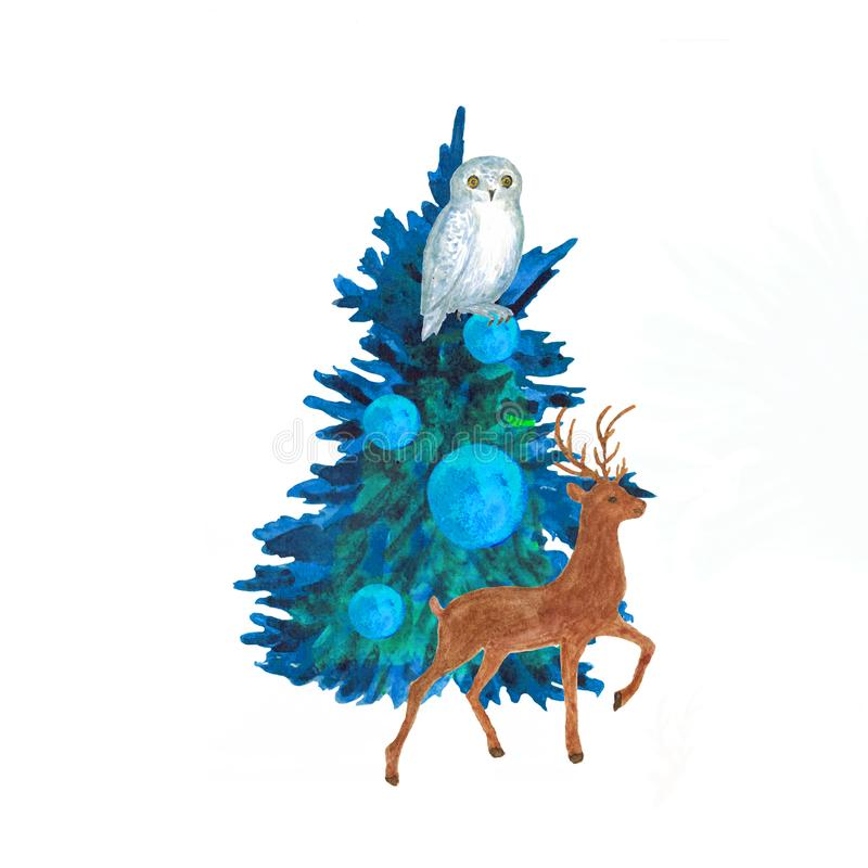 Watercolor.Christmas composition of the Christmas tree, decorated with balls, an owl and a deer. royalty free illustration