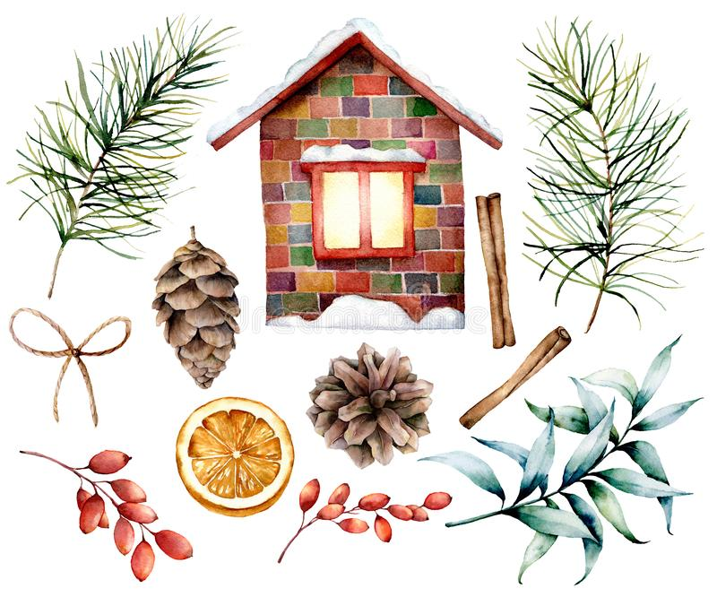 Watercolor Christmas decor set with ceramic house. Hand painted fir branches and cones, cinnamon, barberry, eucalyptu. S, orange slice and bow isolated on white royalty free illustration