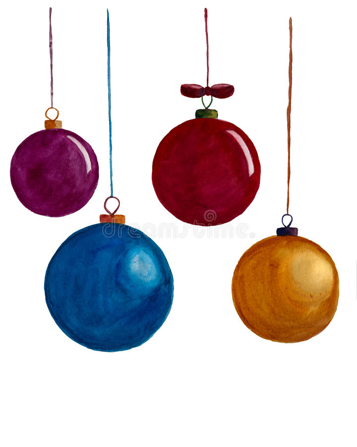 Watercolor christmas decoration royalty free stock image