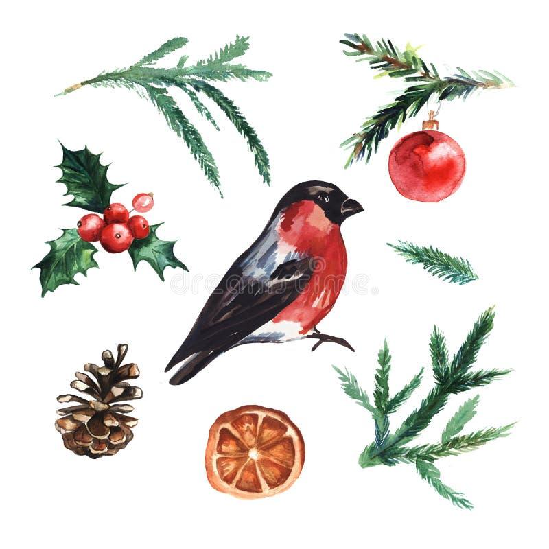 Watercolor Christmas elements set. royalty free illustration