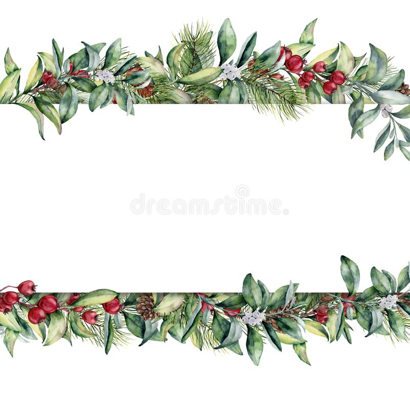 Watercolor Christmas floral banner. Hand painted floral garland with berries and fir branch, pine cone, bells and ribbon vector illustration