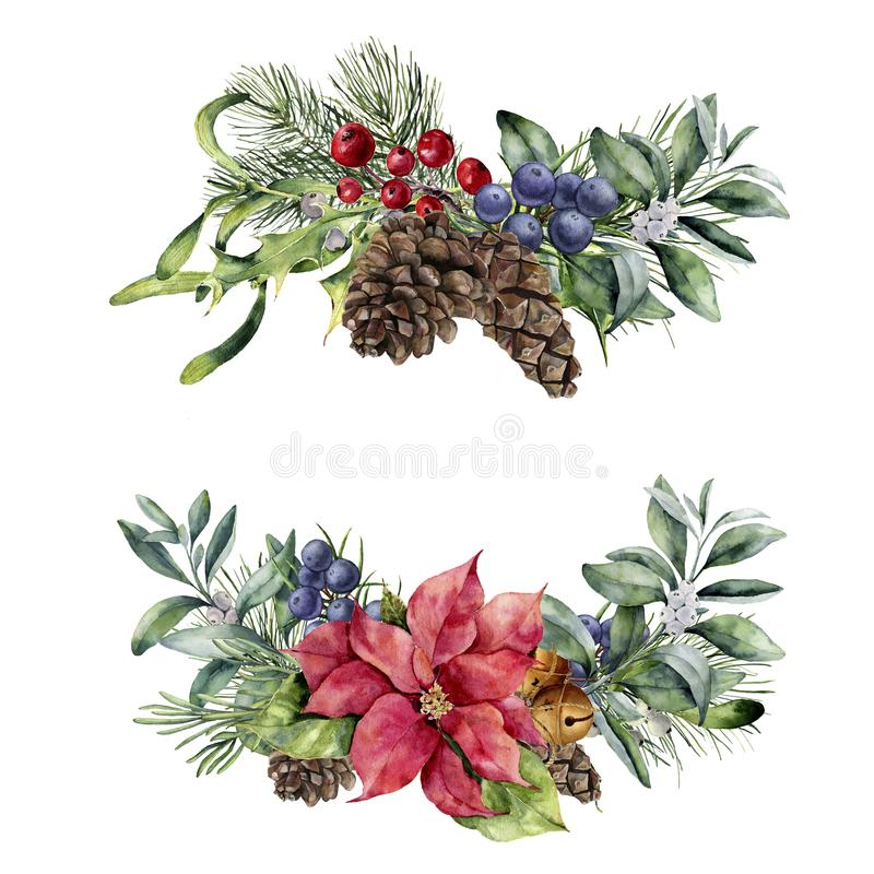 Watercolor Christmas floral bouquet. Hand painted poinsettia, snowberry branch, berries and pine cone isolated on white stock illustration