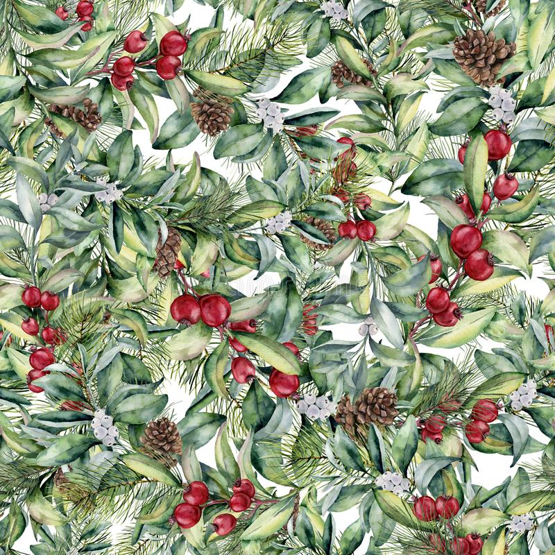 Watercolor Christmas floral pattern. Hand painted snowberry and fir branches, berries and leaves, pine cones isolated on vector illustration