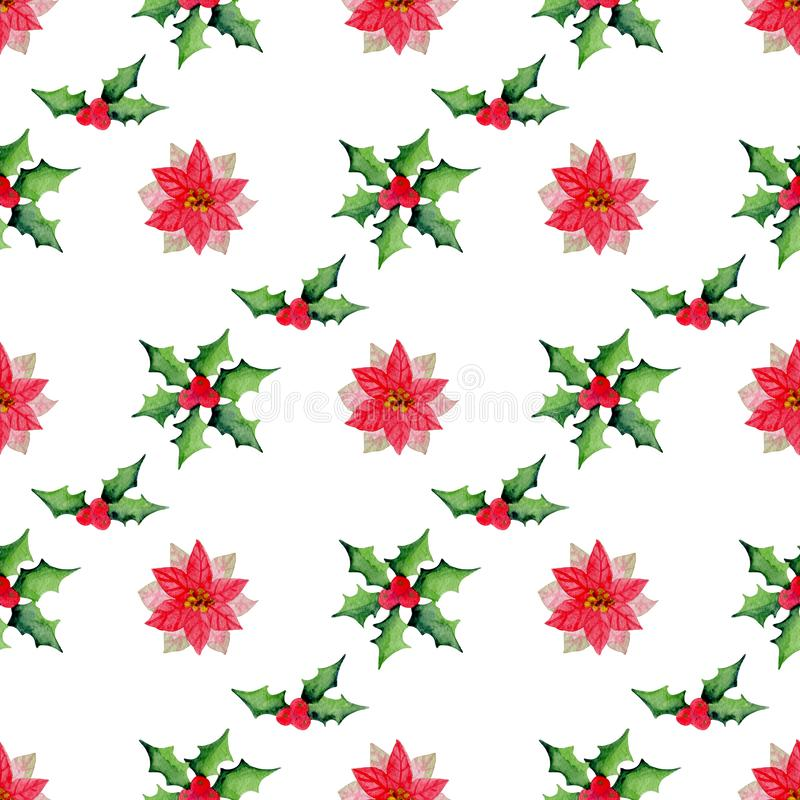 Watercolor Christmas floral seamless pattern. With holly and poinsettia flowers on a white background stock illustration