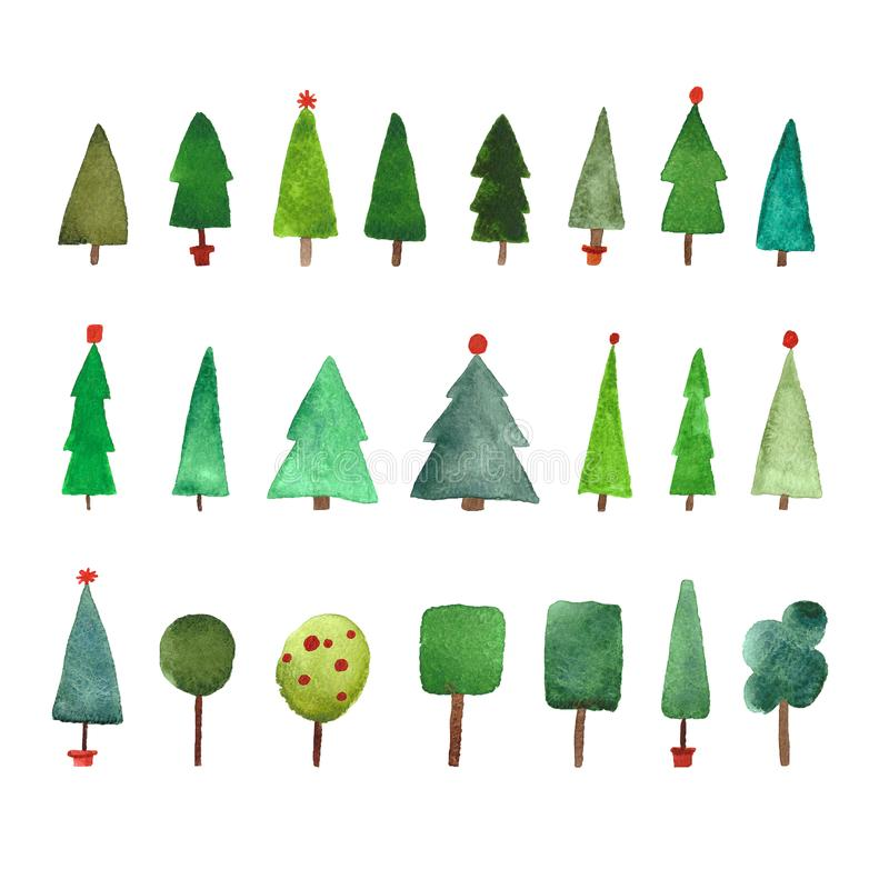 Watercolor Christmas trees set royalty free illustration