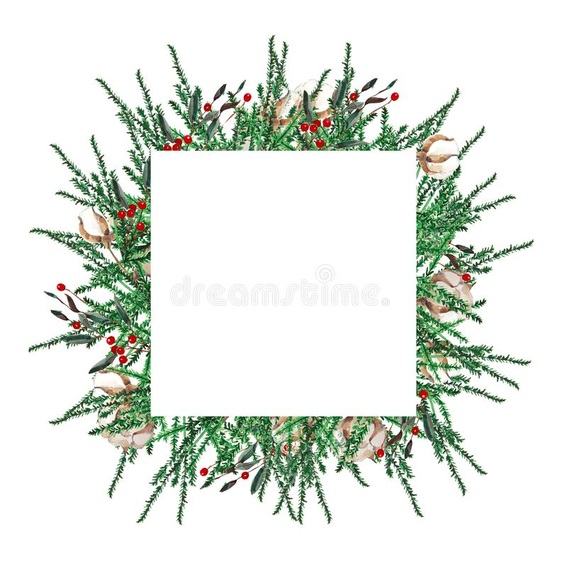 Watercolor Christmas frame square shape . Template of fir branches, boxwood, red berries on a white background. Watercolor Christmas frame square shape stock illustration