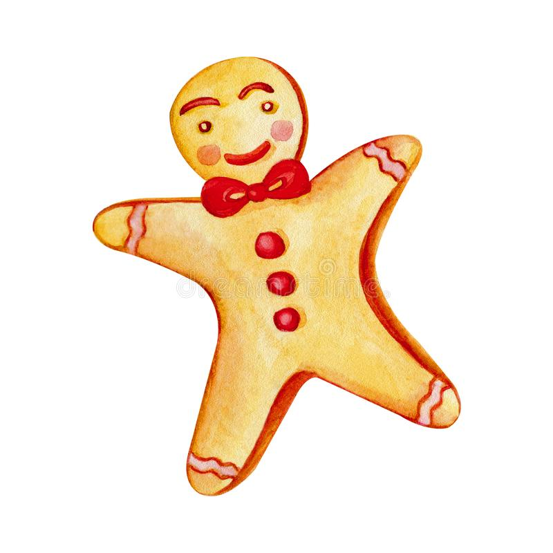 Watercolor Christmas gingerbread man. Hand draw illustration christmas illustration with white isolated background. Christmas. Gingerbread cookies. Celebration royalty free illustration