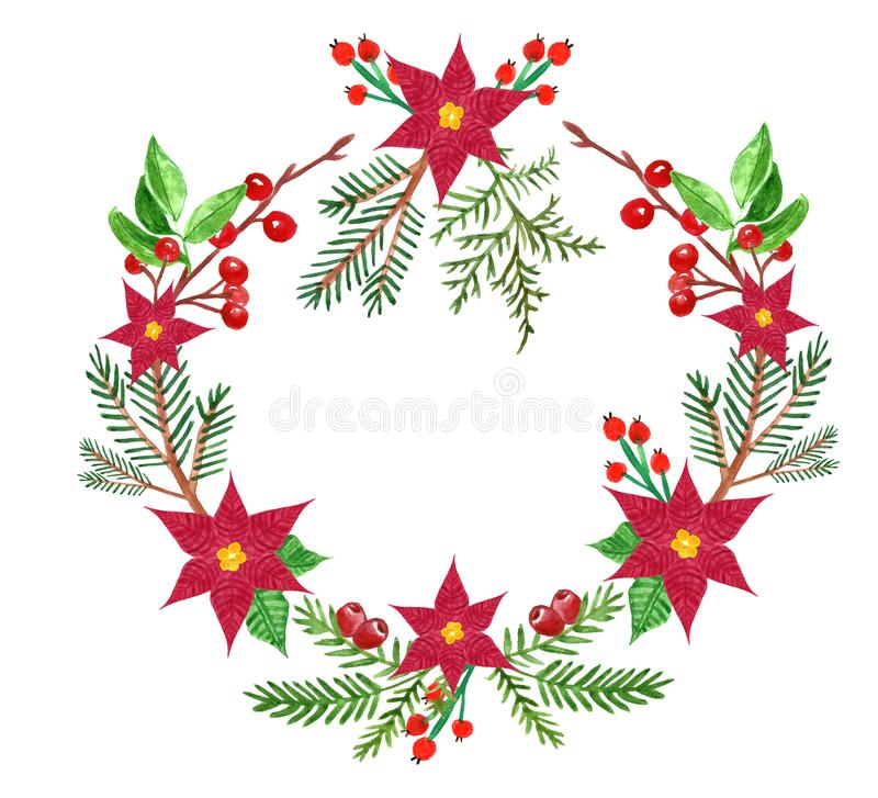 Watercolor Christmas greenery wreath-symbol of winter holidays, with pine evegreen branches and red poinsettia flowers, on white vector illustration