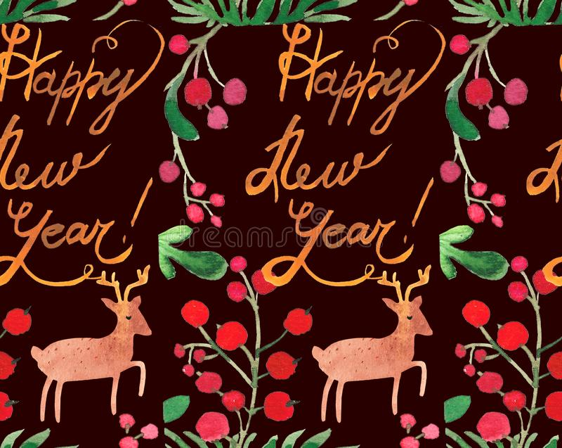 Watercolor Christmas holiday seamless pattern with berries, deer and happy new year copy. Winter New Year theme. stock illustration