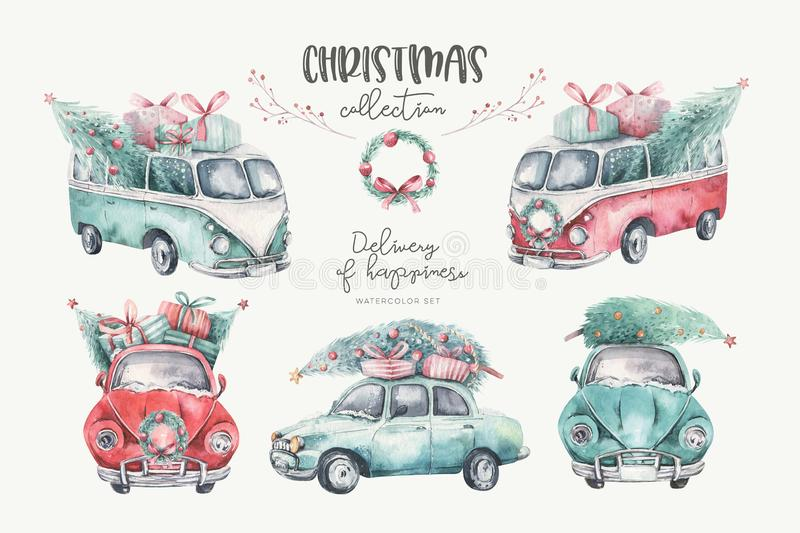 Watercolor christmas holiday seamless pattern with red and green transportation illustration. Merry Xmas auto winter. Design. Hand painted New year retro stock photography