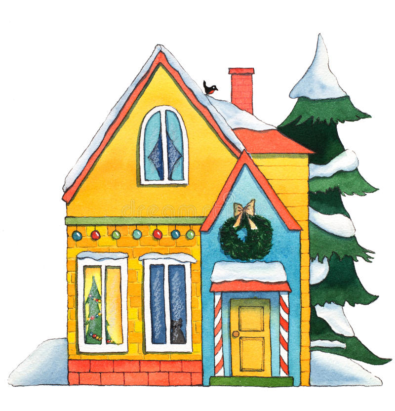 Watercolor Christmas House vector illustration