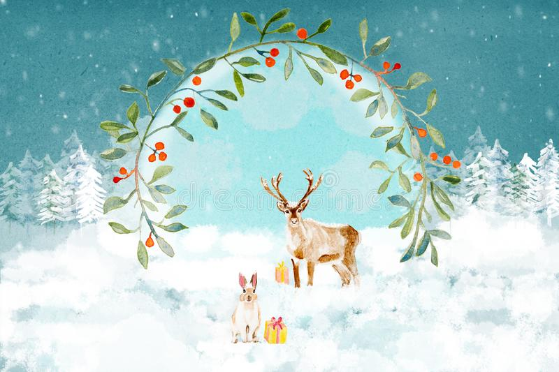 Christmas deeer and rabbit with a wreath in the forest royalty free stock photo
