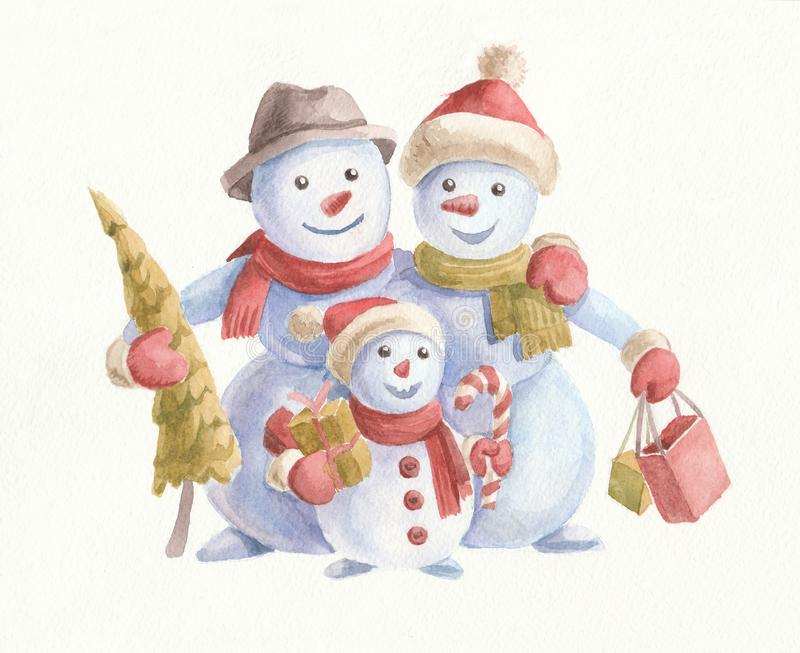 Watercolor Christmas illustration with cute snowmen, Christmas tree and gifts. Family on white background. Merry Christmas and Happy New Year wishes card royalty free stock photo