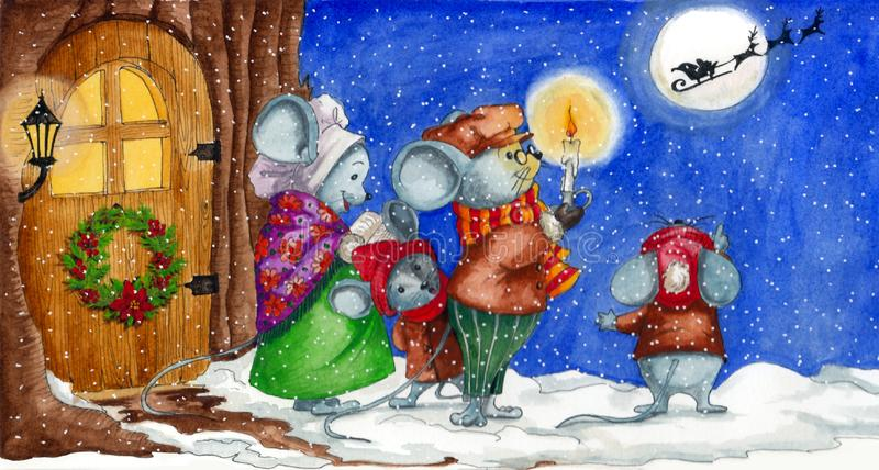 Watercolor Christmas illustration with a mouse family looking at Santa Clause who is flying and singing carols vector illustration
