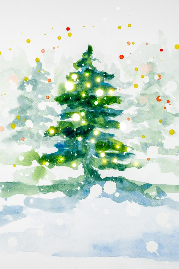 Watercolor Christmas illustration of tree with lights stock image