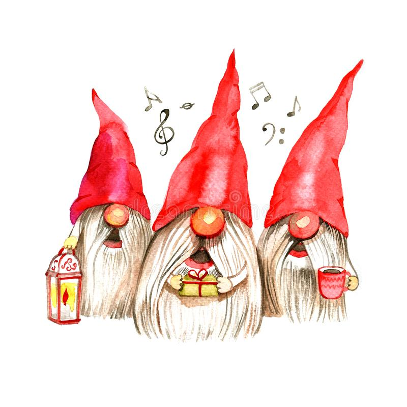 Watercolor Christmas illustration with trio singing dwarfs. Christmas cards. Winter design. Merry Christmas royalty free illustration