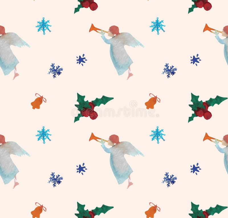 Watercolor Christmas illustrations seamless pattern with angels. Winter New Year theme. royalty free illustration