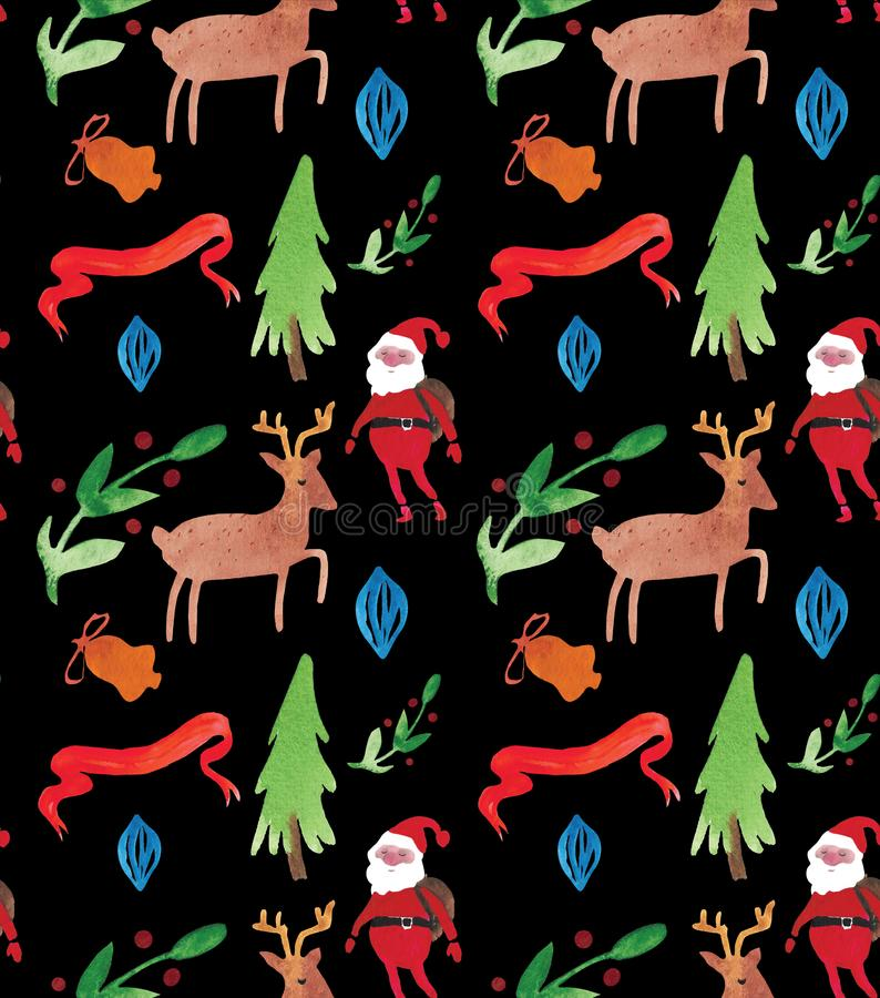 Watercolor Christmas illustrations seamless pattern with Santa Clause, deer, trees and berries . Winter New Year theme. vector illustration