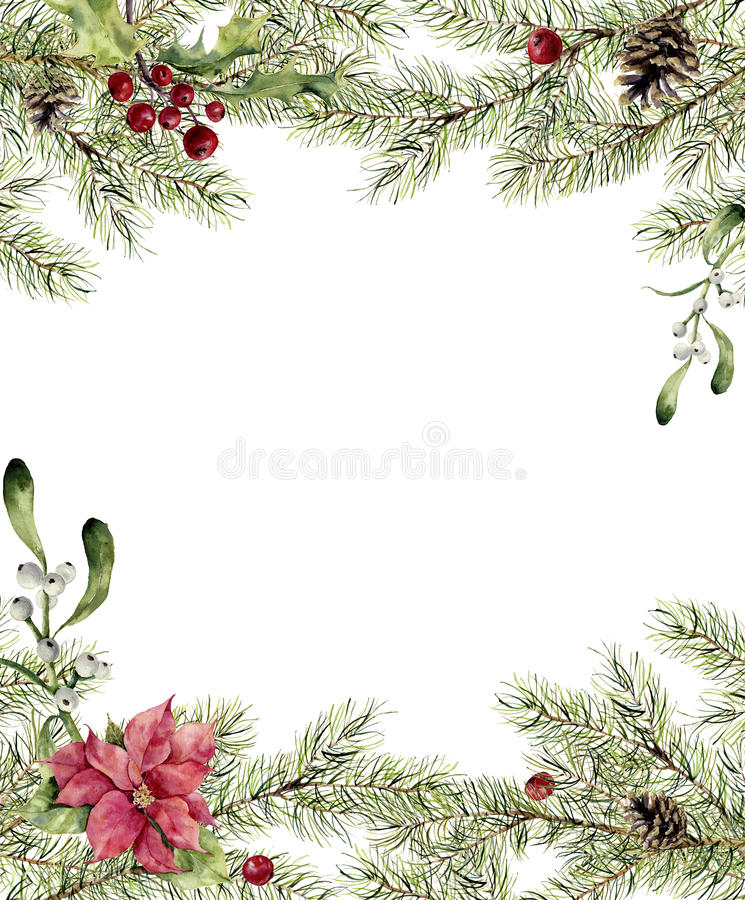 Free Watercolor Christmas Invitation. Fir Branch With Holly, Mistletoe And Poinsettia. New Year Tree Border With Decor For Stock Photos - 78757213